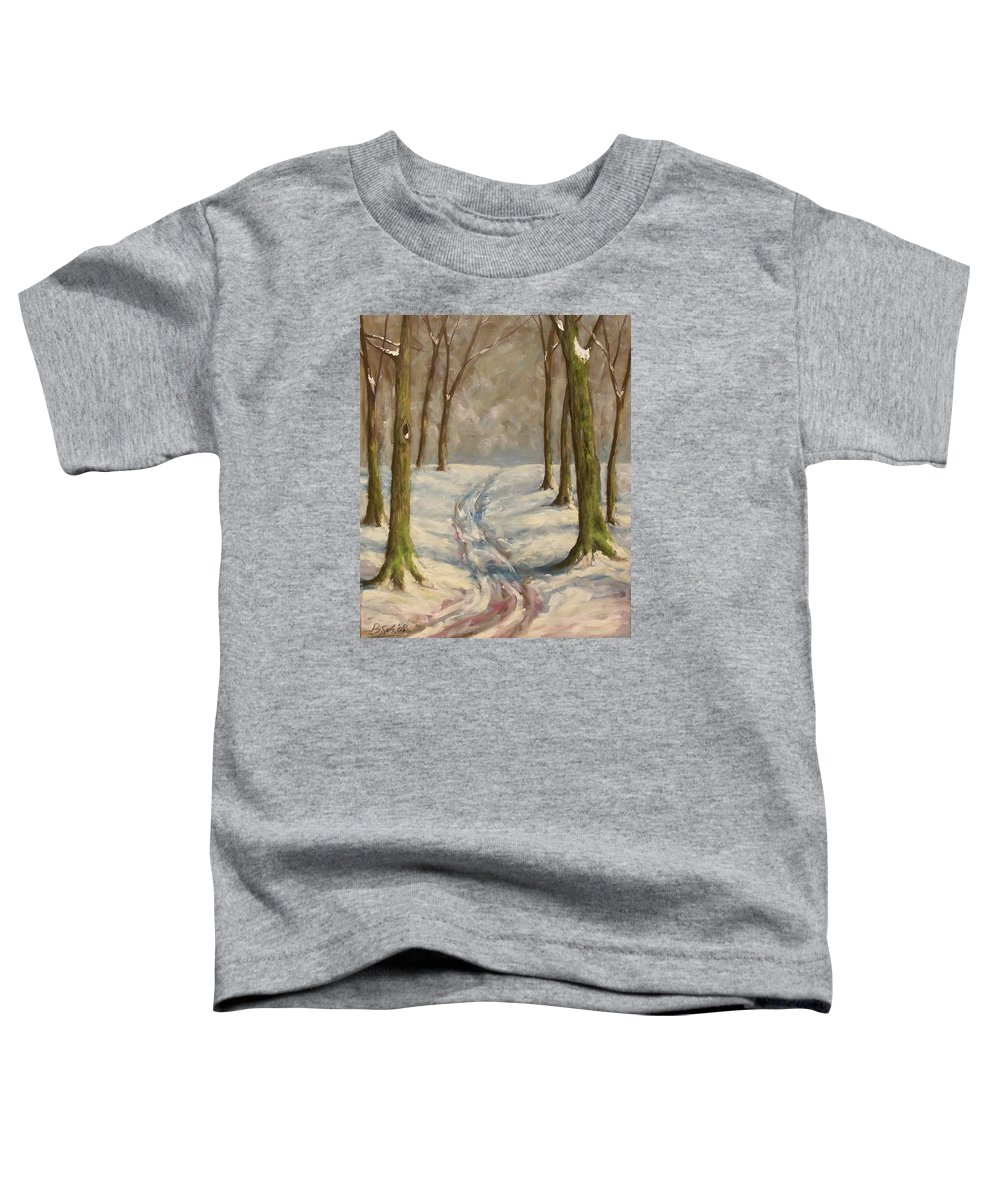 Winter Toddler T-Shirt featuring the painting Winter Day by Birgit Schnapp
