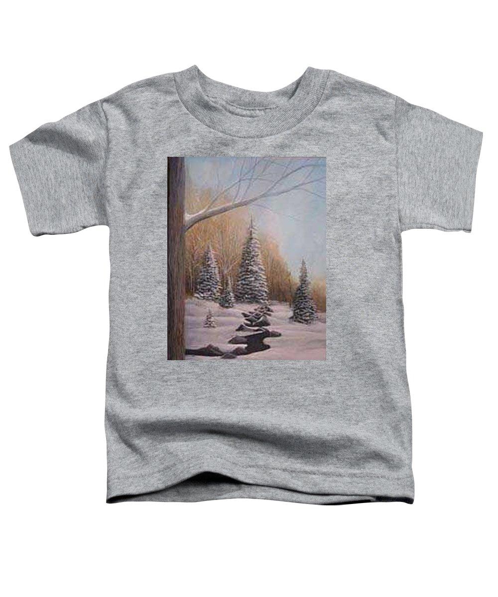 Rick Huotari Toddler T-Shirt featuring the painting Winter Morning by Rick Huotari