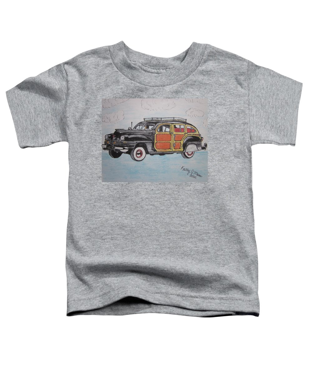 Woodie Toddler T-Shirt featuring the painting Woodie Station Wagon by Kathy Marrs Chandler