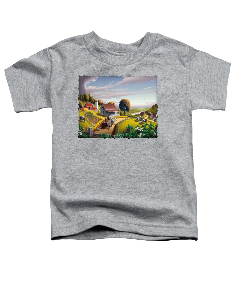 Farm Landscape Toddler T-Shirt featuring the painting Appalachian Blackberry Patch Rustic Country Farm Folk Art Landscape - Rural Americana - Peaceful by Walt Curlee