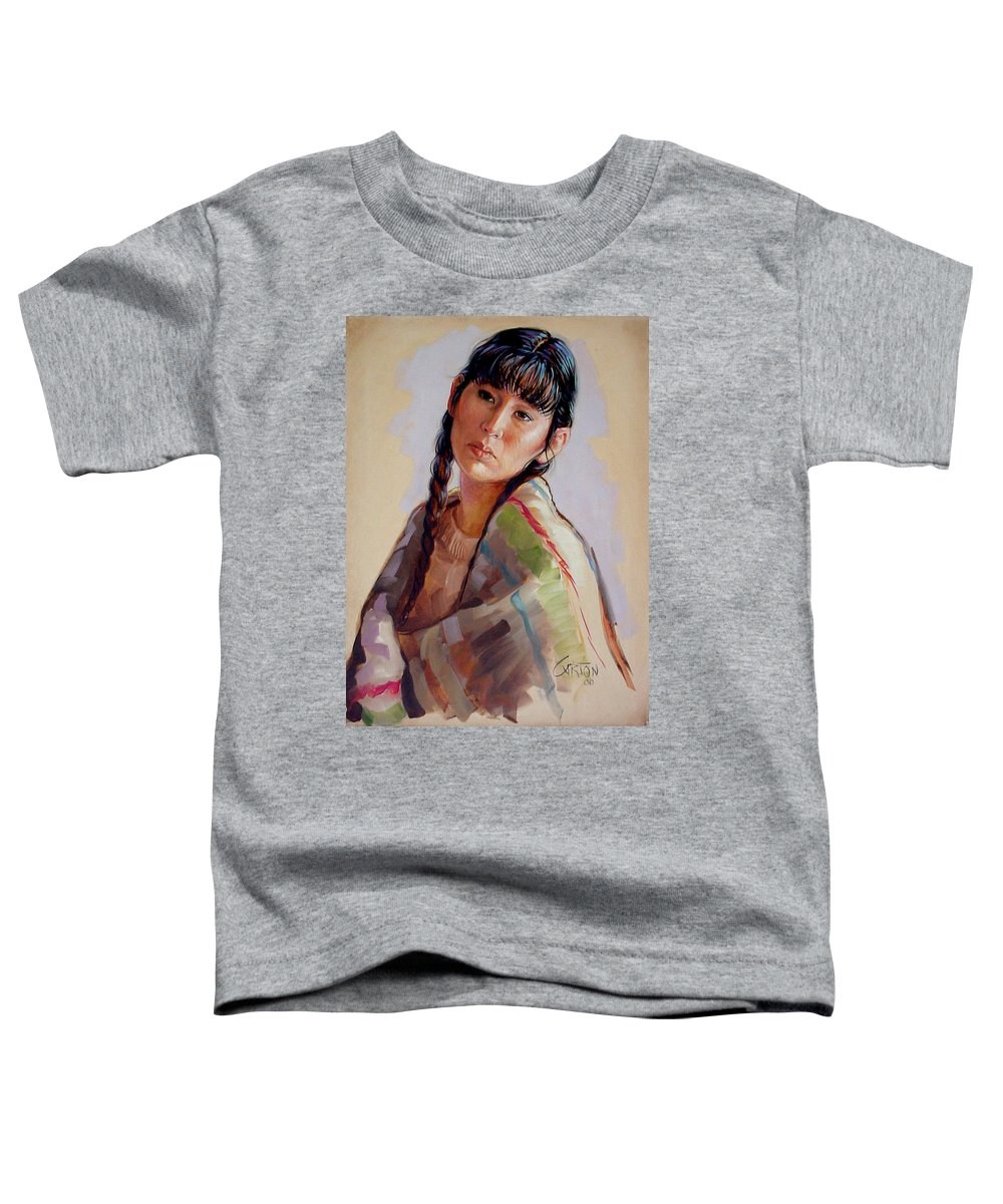 Sacajawea Toddler T-Shirt featuring the painting Sacajawea  Study by Jerrold Carton