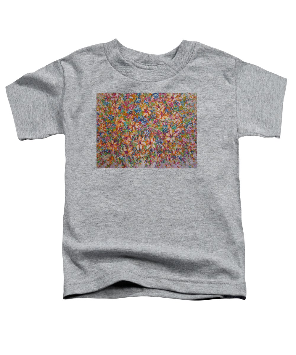 Flowers Toddler T-Shirt featuring the painting Flower Galaxy by Natalie Holland