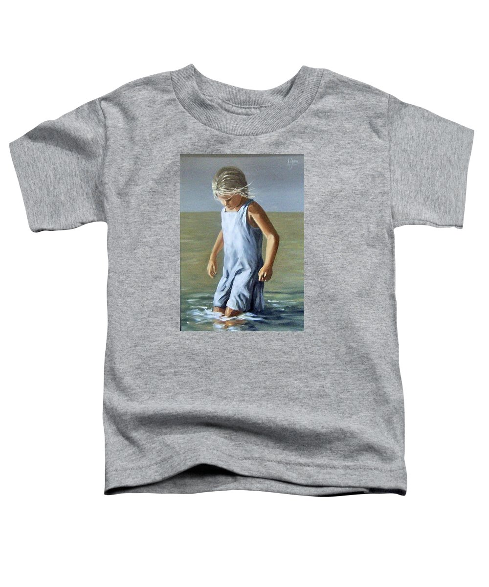 Girl Children Reflection Water Sea Figurative Portrait Toddler T-Shirt featuring the painting Girl by Natalia Tejera