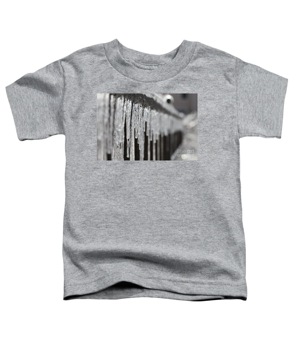 Icicles Toddler T-Shirt featuring the photograph Icicles At Attention by Nadine Rippelmeyer