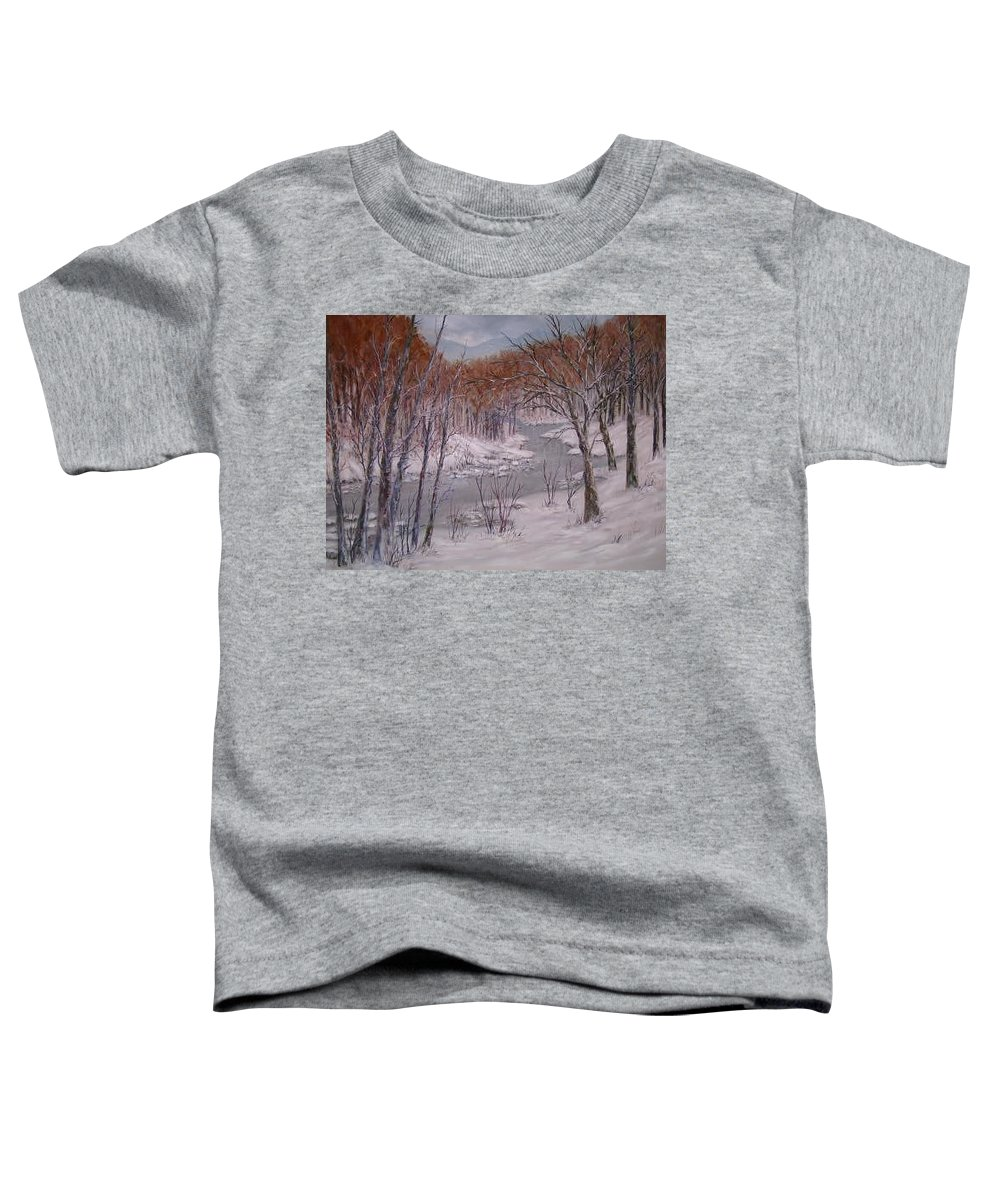 Snow; Landscape Toddler T-Shirt featuring the painting Peace And Quiet by Ben Kiger