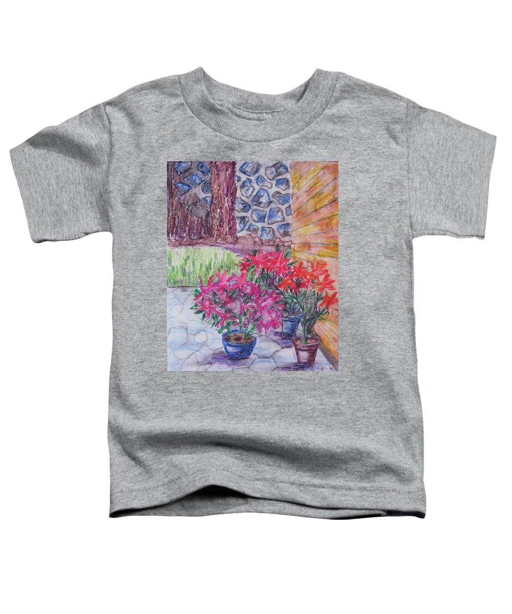 Poinsettias Toddler T-Shirt featuring the painting Poinsettias - Gifted by Judith Espinoza
