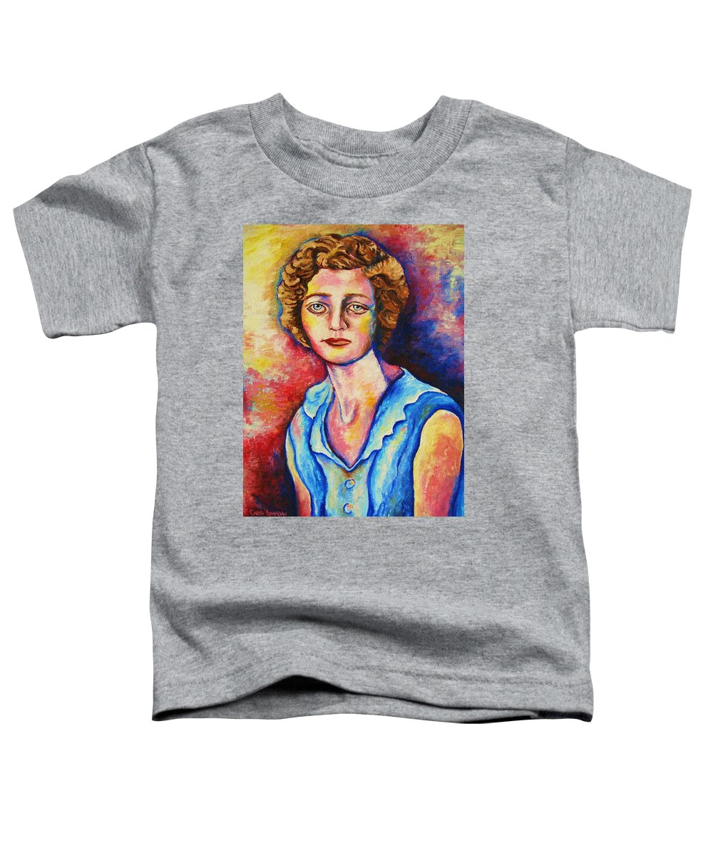 Portraits Toddler T-Shirt featuring the painting Sad Eyes by Carole Spandau