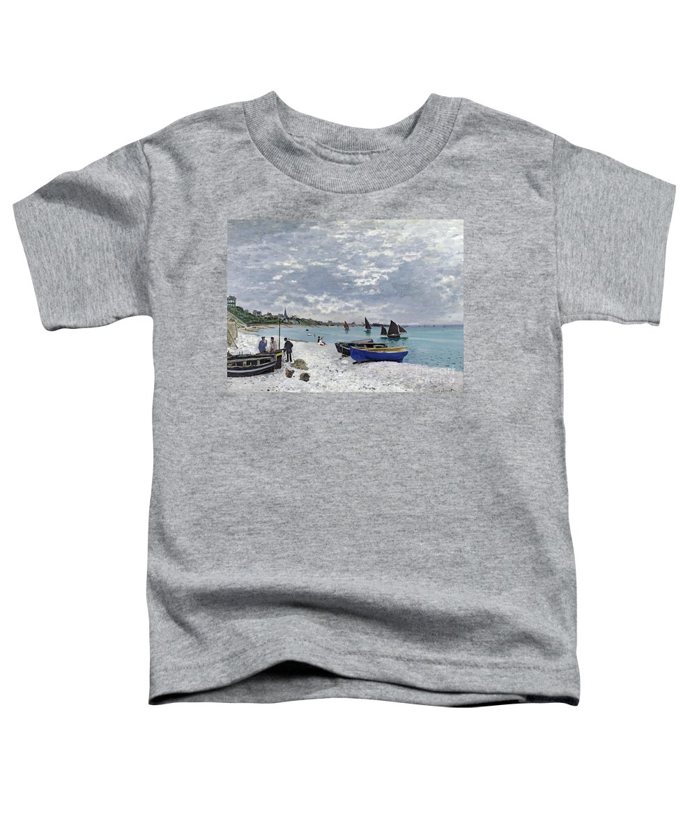 Coastal;french;rowing Boat;sailing;sainte Adresse; Boats Toddler T-Shirt featuring the painting The Beach At Sainte Adresse by Claude Monet