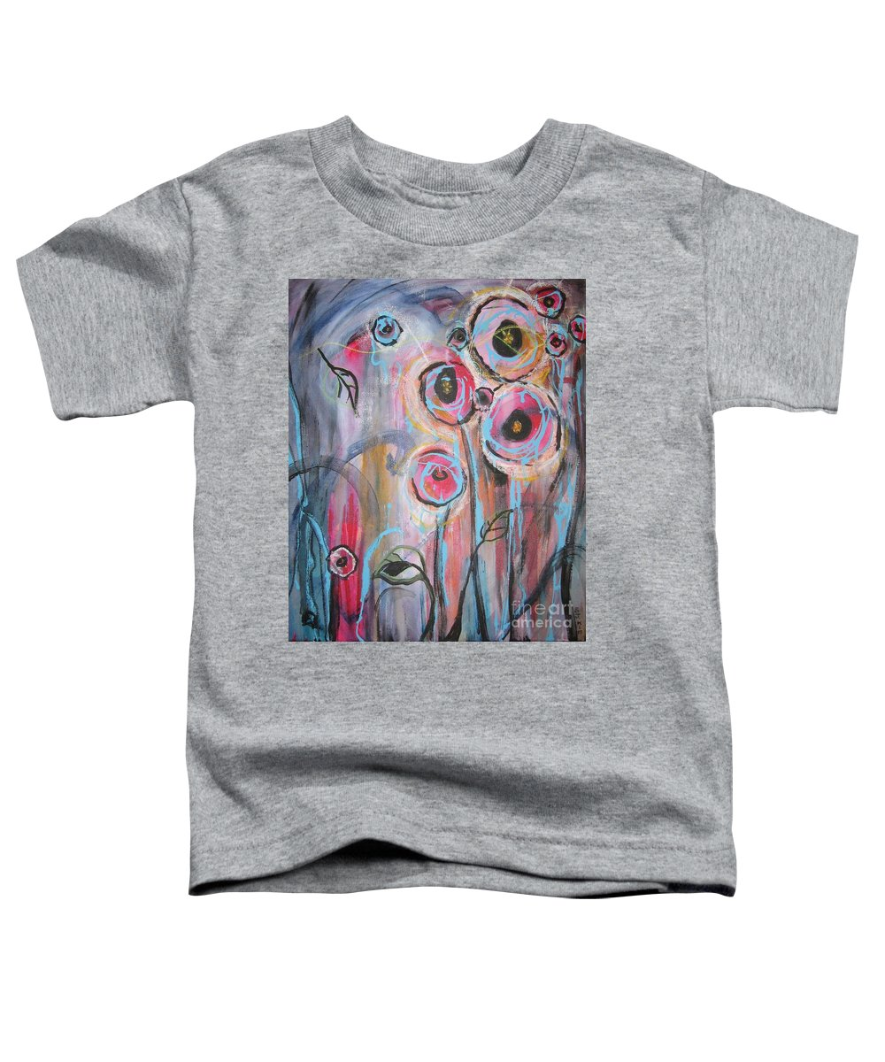 Aabstract Paintings Toddler T-Shirt featuring the painting Too Many Temptations by Seon-Jeong Kim