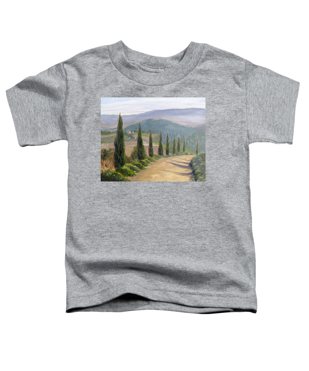 Landscape Toddler T-Shirt featuring the painting Tuscany Road by Jay Johnson