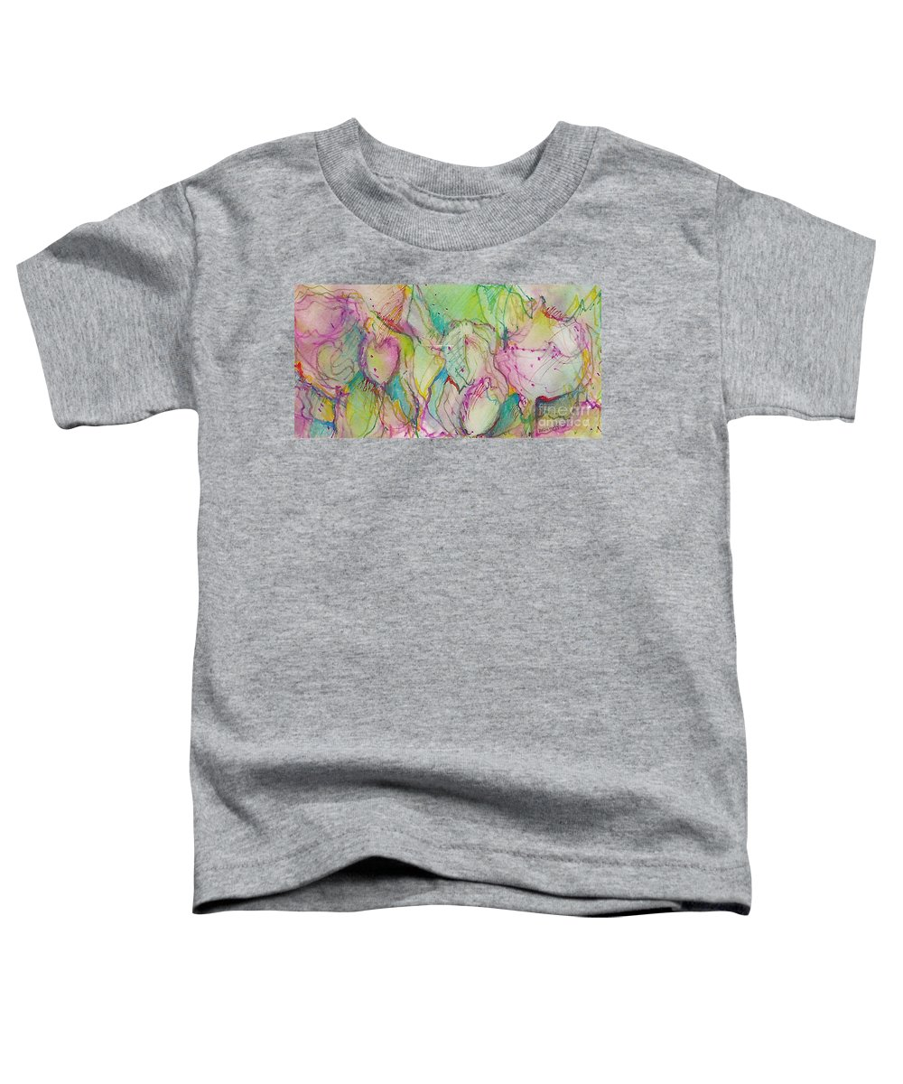 Abstract Toddler T-Shirt featuring the painting Two Lips by Jan Bennicoff