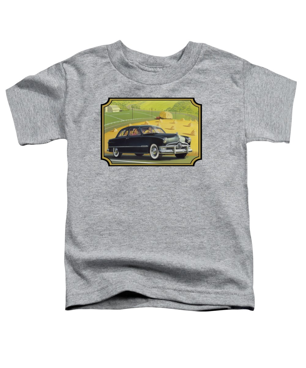 1950 Toddler T-Shirt featuring the painting 1950 Custom Ford Rustic Rural Country Farm Scene Americana Antique Car Watercolor Painting by Walt Curlee