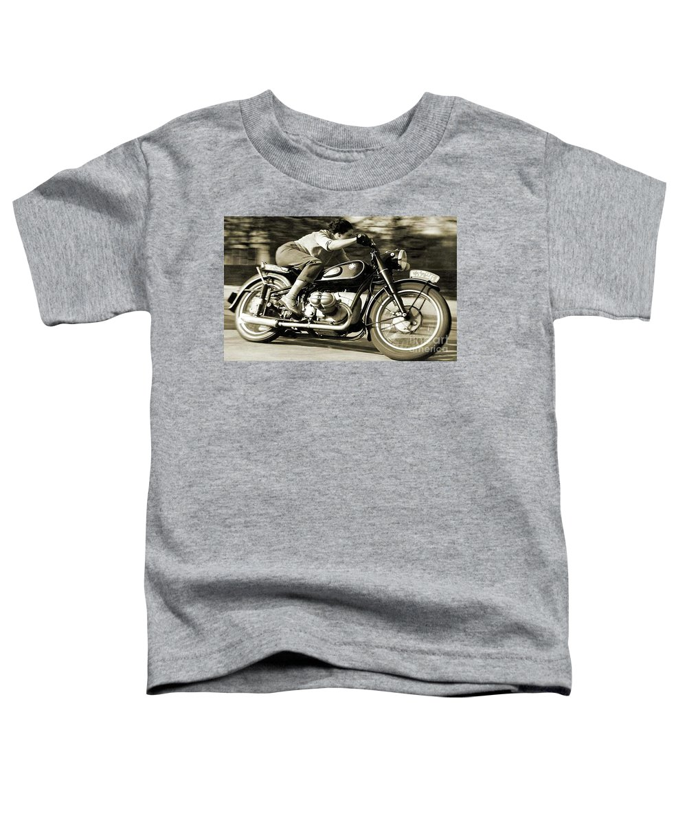 1954 Bmw R68 Toddler T-Shirt featuring the mixed media 1954 BMW R68 Motorcycle Racer. by Thomas Pollart