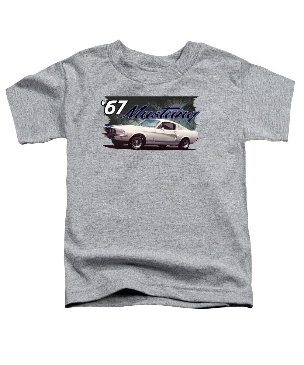 1967 Toddler T-Shirt featuring the digital art 1967 Mustang Backsplash by Paul Kuras