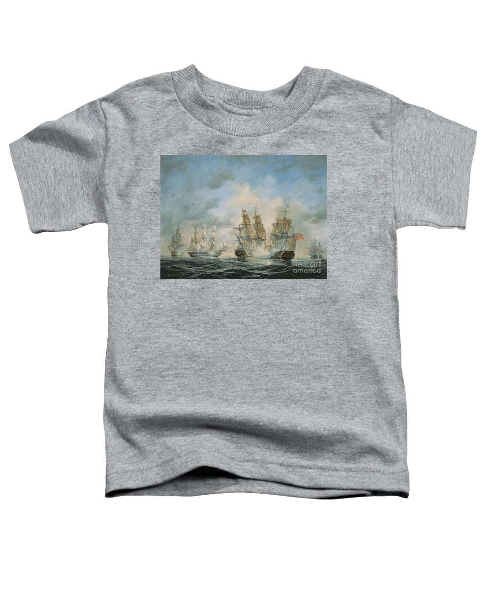 Seascape; Navel; Sea; Ship; Ships; Navel Engagement; Flag; Flags; Cloud; Clouds; Battle; Battling; Sailing; Sailing Ships Toddler T-Shirt featuring the painting 19th Century Naval Engagement In Home Waters by Richard Willis