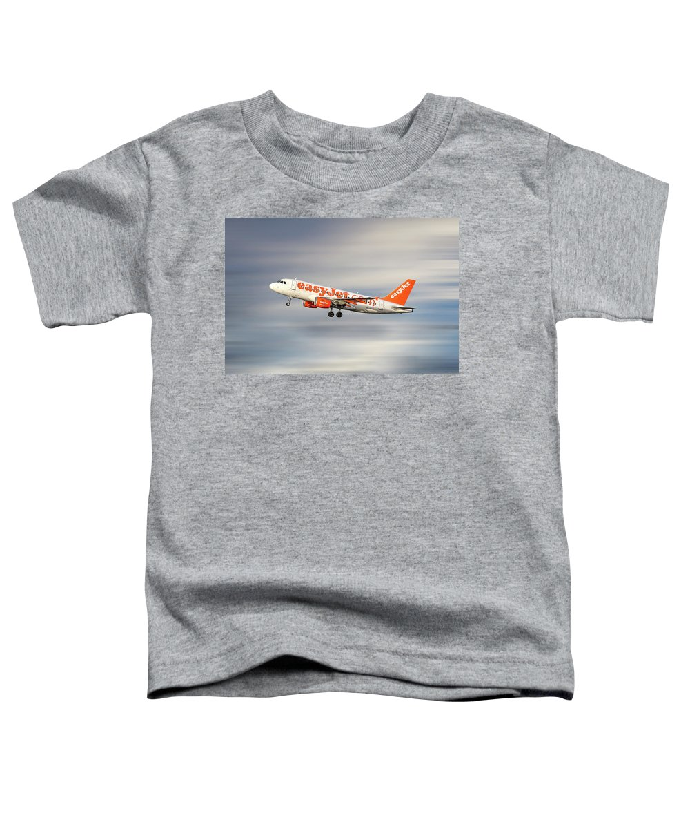 Easyjet Toddler T-Shirt featuring the mixed media Easyjet Airbus A319-111 by Smart Aviation