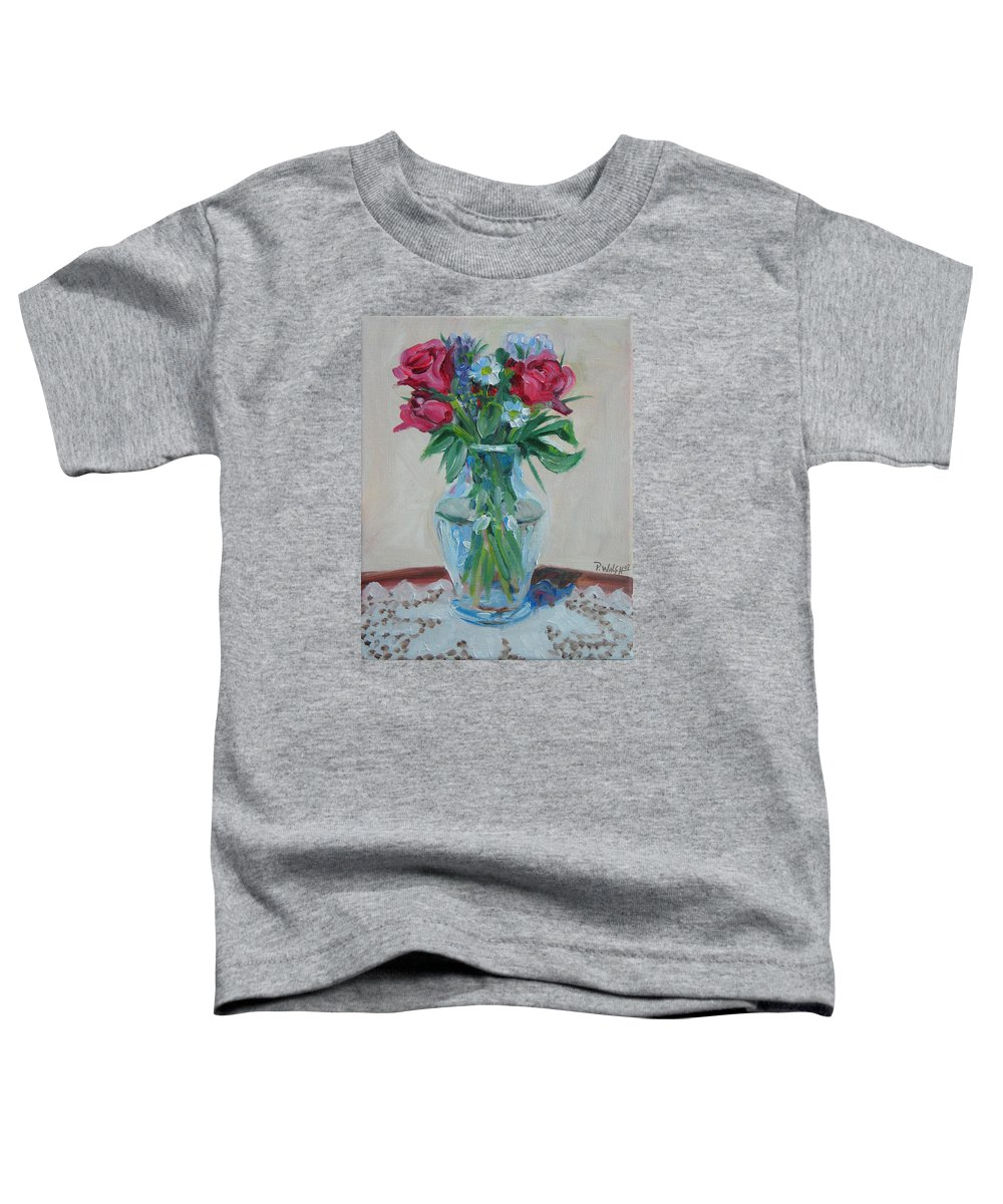 Roses Toddler T-Shirt featuring the painting 3 Roses by Paul Walsh