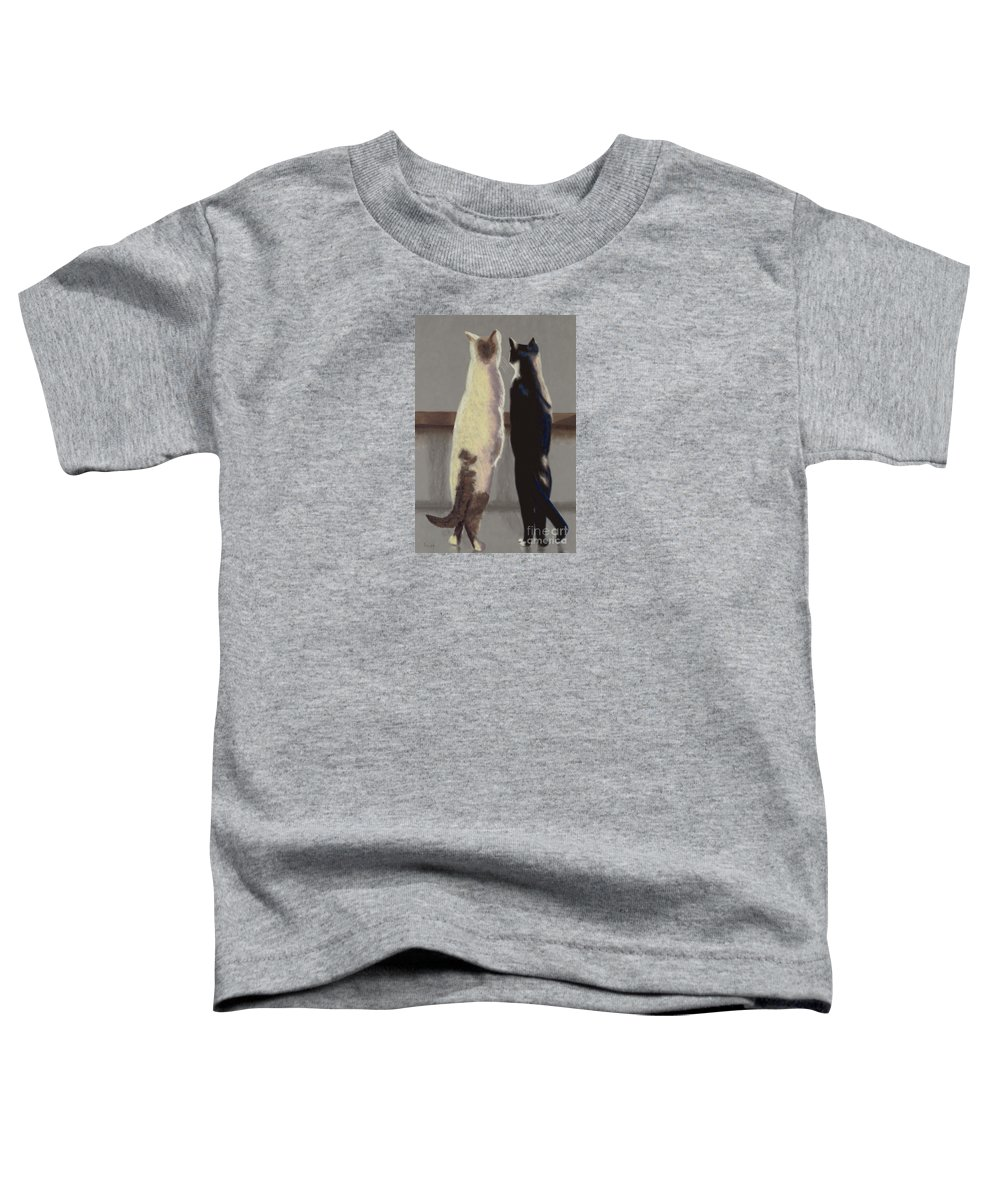 Cat Toddler T-Shirt featuring the painting A Bird by Linda Hiller