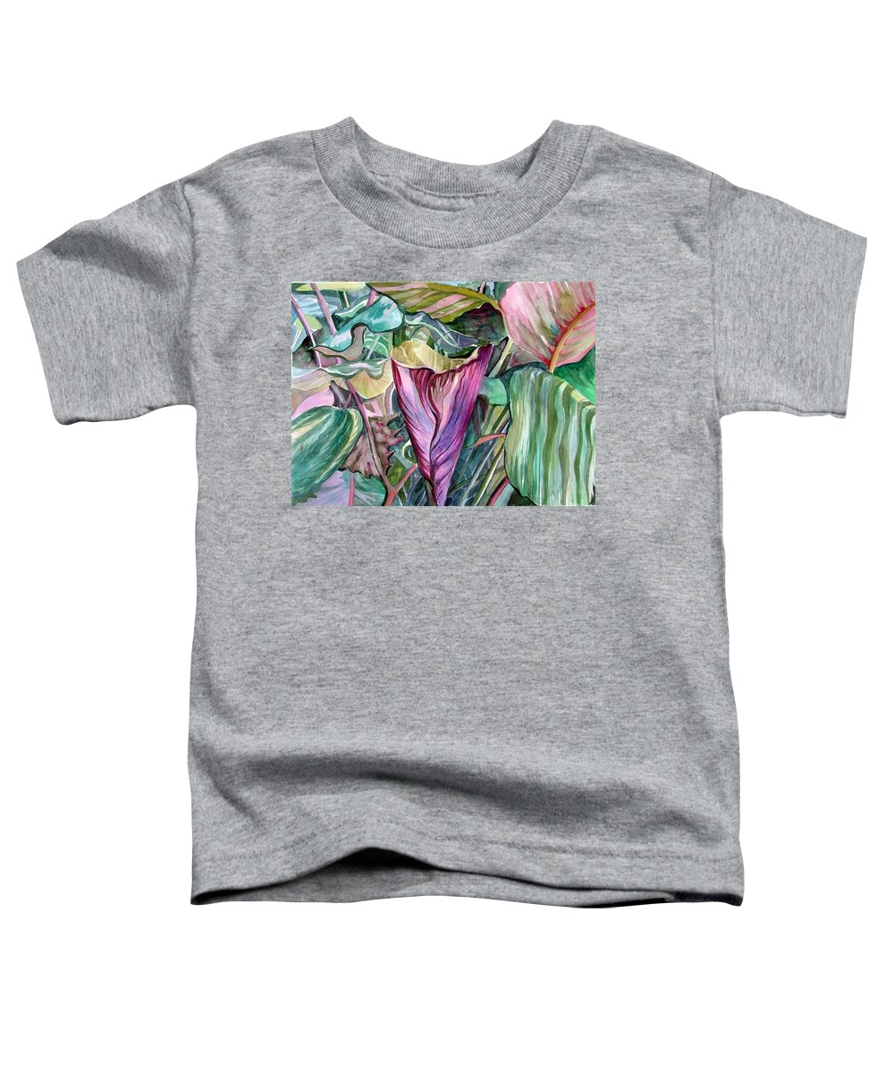 Garden Toddler T-Shirt featuring the painting A Light In The Garden by Mindy Newman