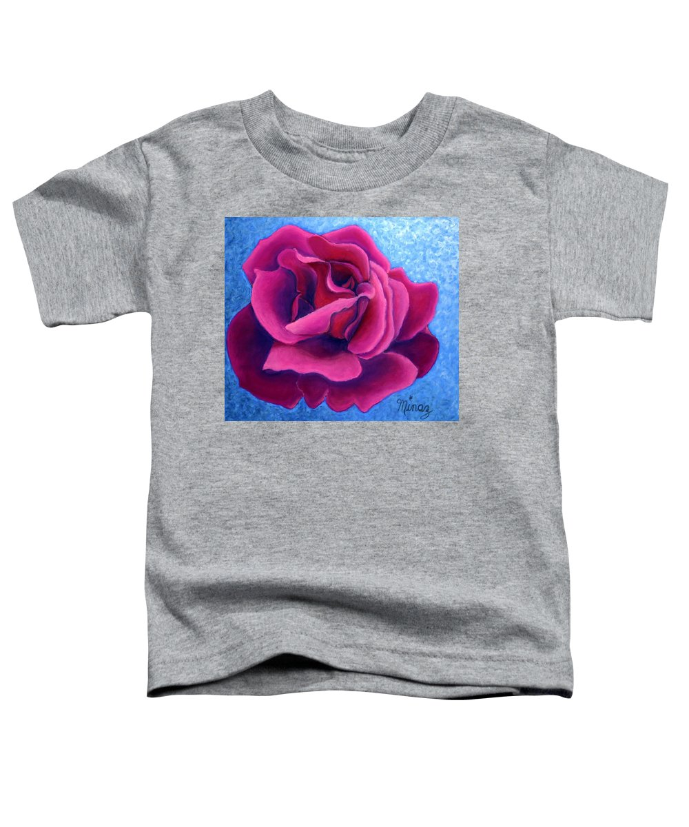 Rose. Pink Rose Toddler T-Shirt featuring the painting A Rose Is A Rose.. by Minaz Jantz