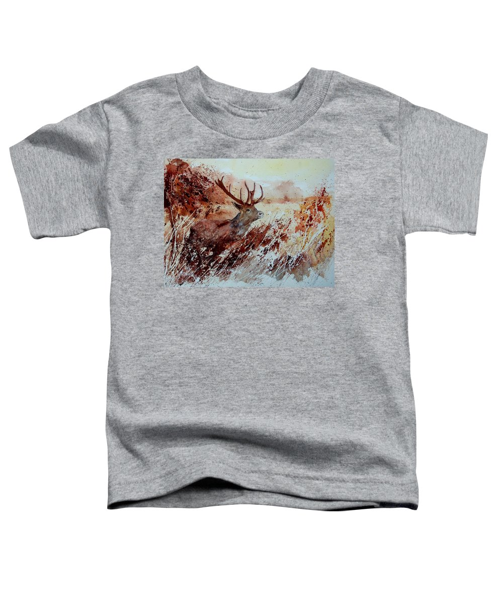 Animal Toddler T-Shirt featuring the painting A Stag by Pol Ledent