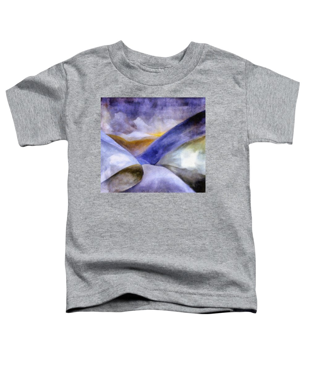 Blue Toddler T-Shirt featuring the painting Abstract Mountain Landscape by Michelle Calkins