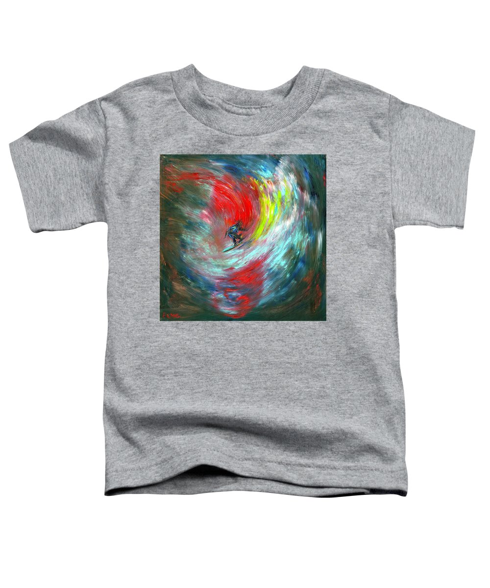 Surfer Toddler T-Shirt featuring the painting Abstract Surfer by Paul Emig
