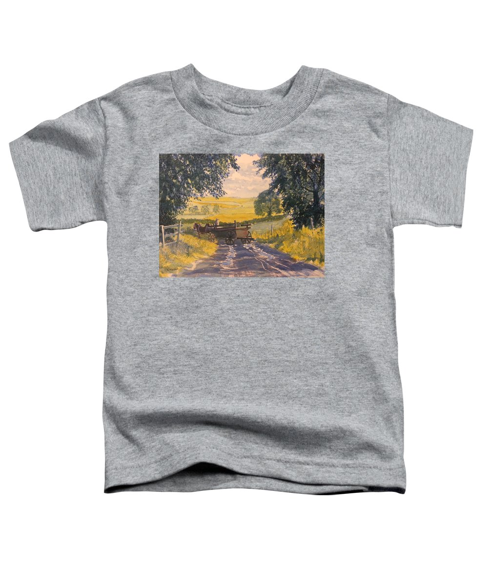 Glenn Marshall Yorkshire Artist Toddler T-Shirt featuring the painting After Rain On The Wolds Way by Glenn Marshall