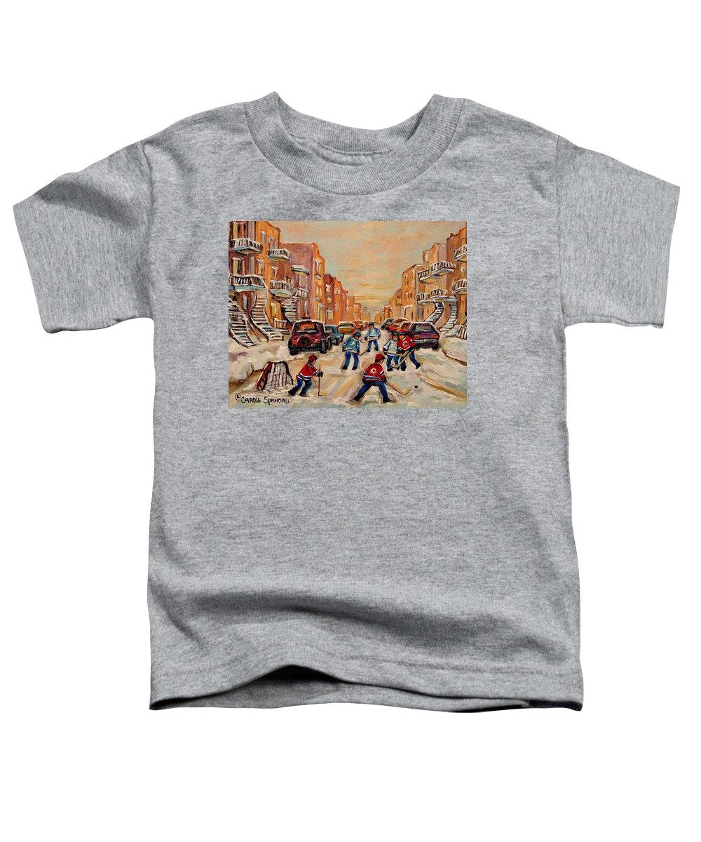 After School Hockey Game Toddler T-Shirt featuring the painting After School Hockey Game by Carole Spandau