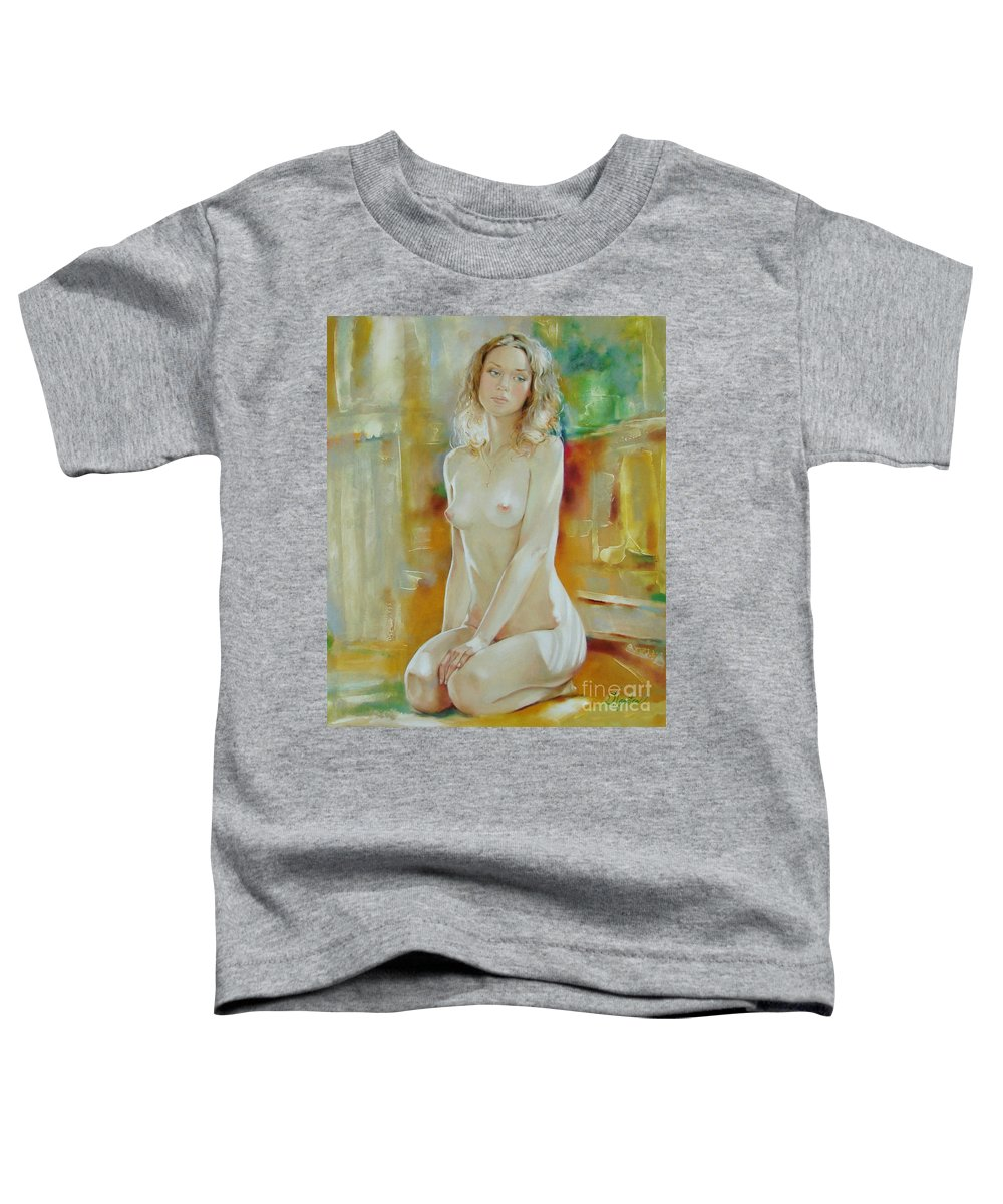 Art Toddler T-Shirt featuring the painting Alone At Home by Sergey Ignatenko