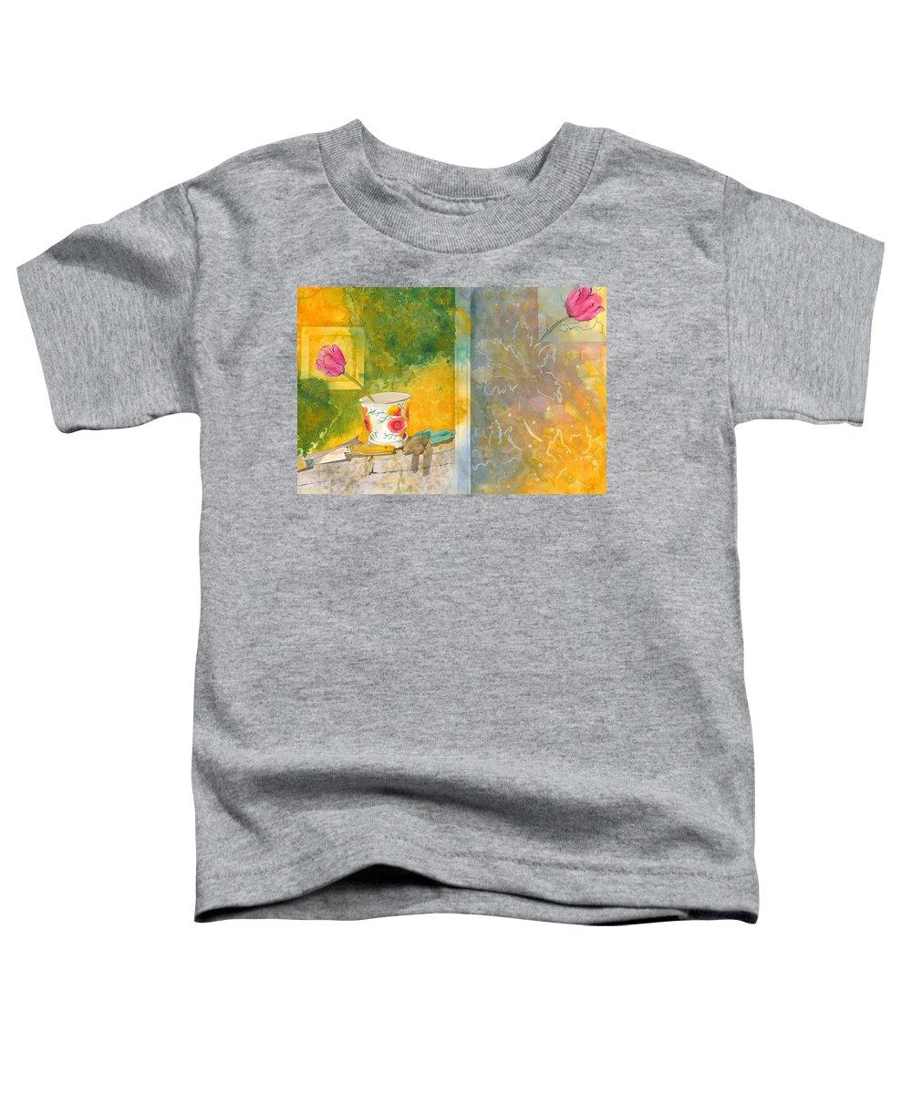 Garden Toddler T-Shirt featuring the painting Along The Garden Wall by Jean Blackmer