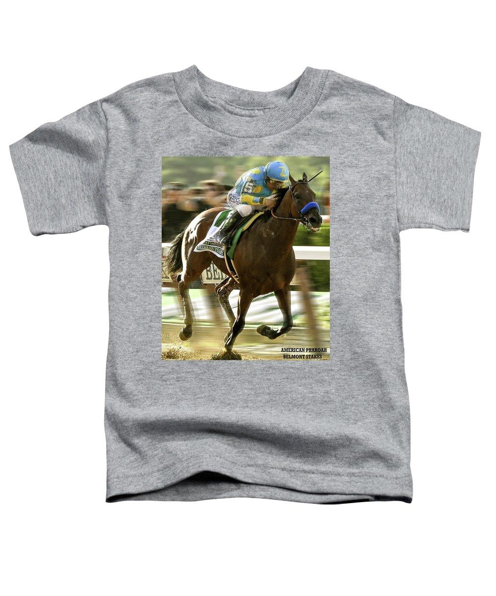 Victor Espinoza Toddler T-Shirt featuring the mixed media American Pharoah and Victory Espinoza win the 2015 Belmont Stakes by Thomas Pollart