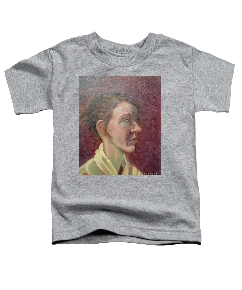 Girl Toddler T-Shirt featuring the painting Ami Portrait by Lilibeth Andre