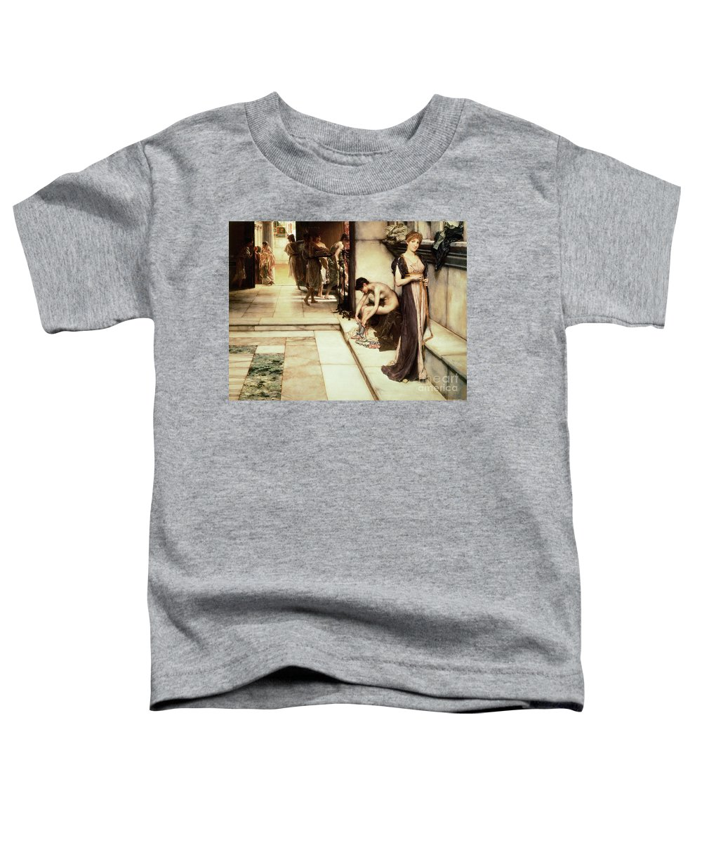 Apodyterium Toddler T-Shirt featuring the painting An Apodyterium by Sir Lawrence Alma-Tadema