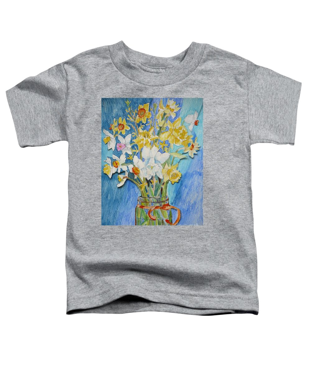 Flowers Toddler T-Shirt featuring the painting Angels Flowers by Jan Bennicoff