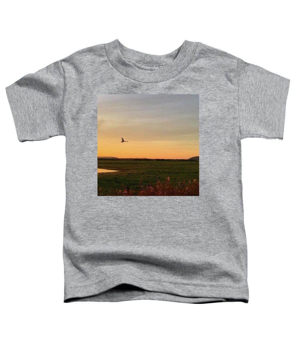 Natureonly Toddler T-Shirt featuring the photograph Another Iphone Shot Of The Swan Flying by John Edwards