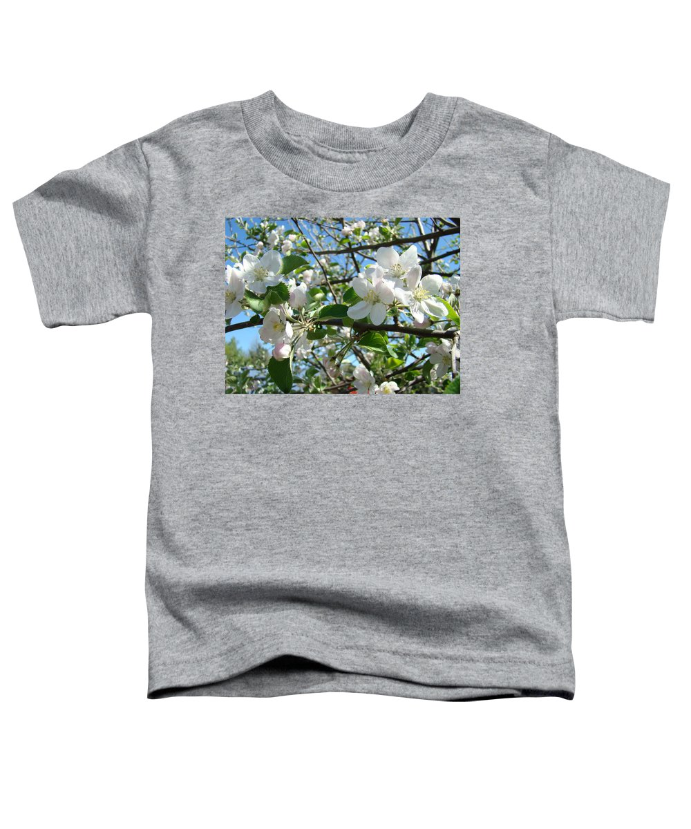 �blossoms Artwork� Toddler T-Shirt featuring the photograph Apple Blossoms Art Prints 60 Spring Apple Tree Blossoms Blue Sky Landscape by Baslee Troutman
