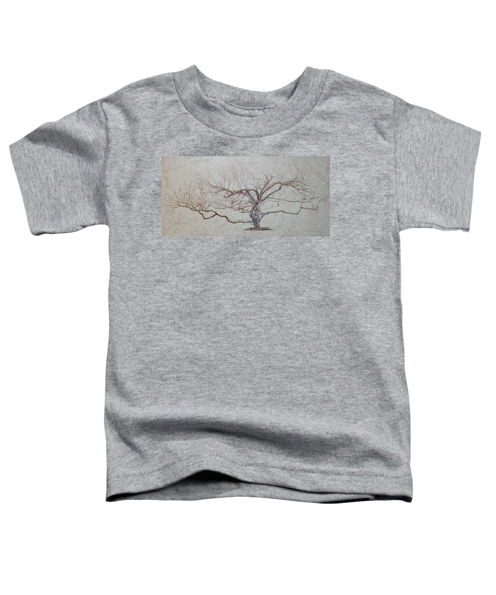 Apple Tree Toddler T-Shirt featuring the painting Apple Tree In Winter by Leah Tomaino