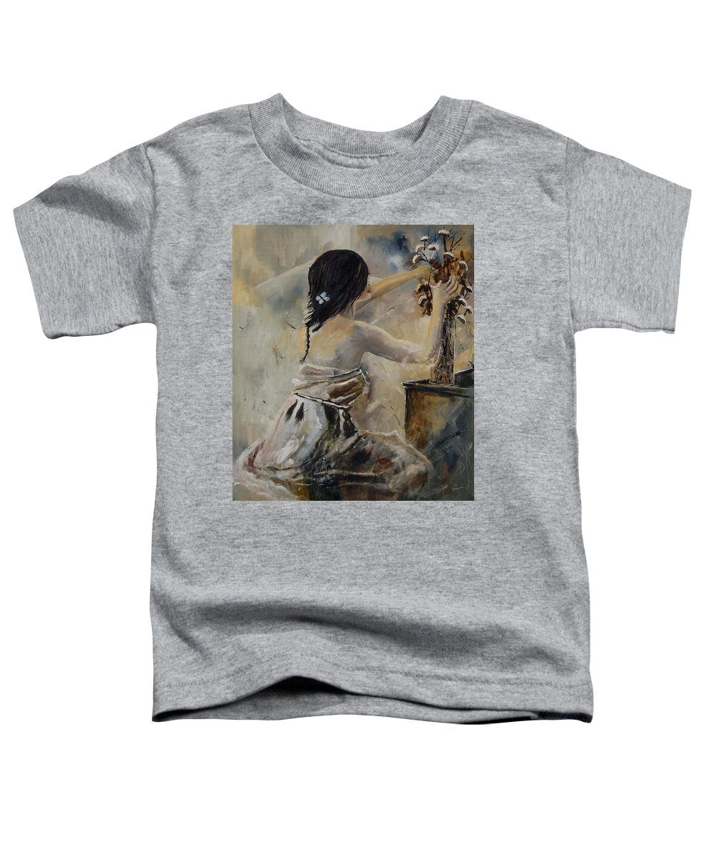 Girl Toddler T-Shirt featuring the painting Arranging Flowers by Pol Ledent