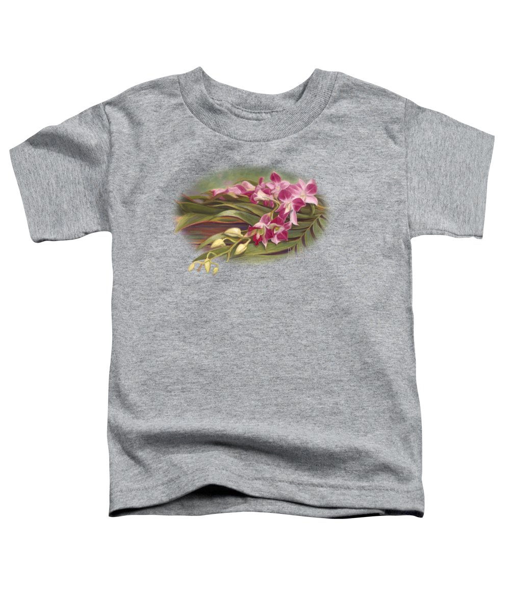 Flowers Toddler T-Shirt featuring the painting Dendrobium Orchids by Lucie Bilodeau