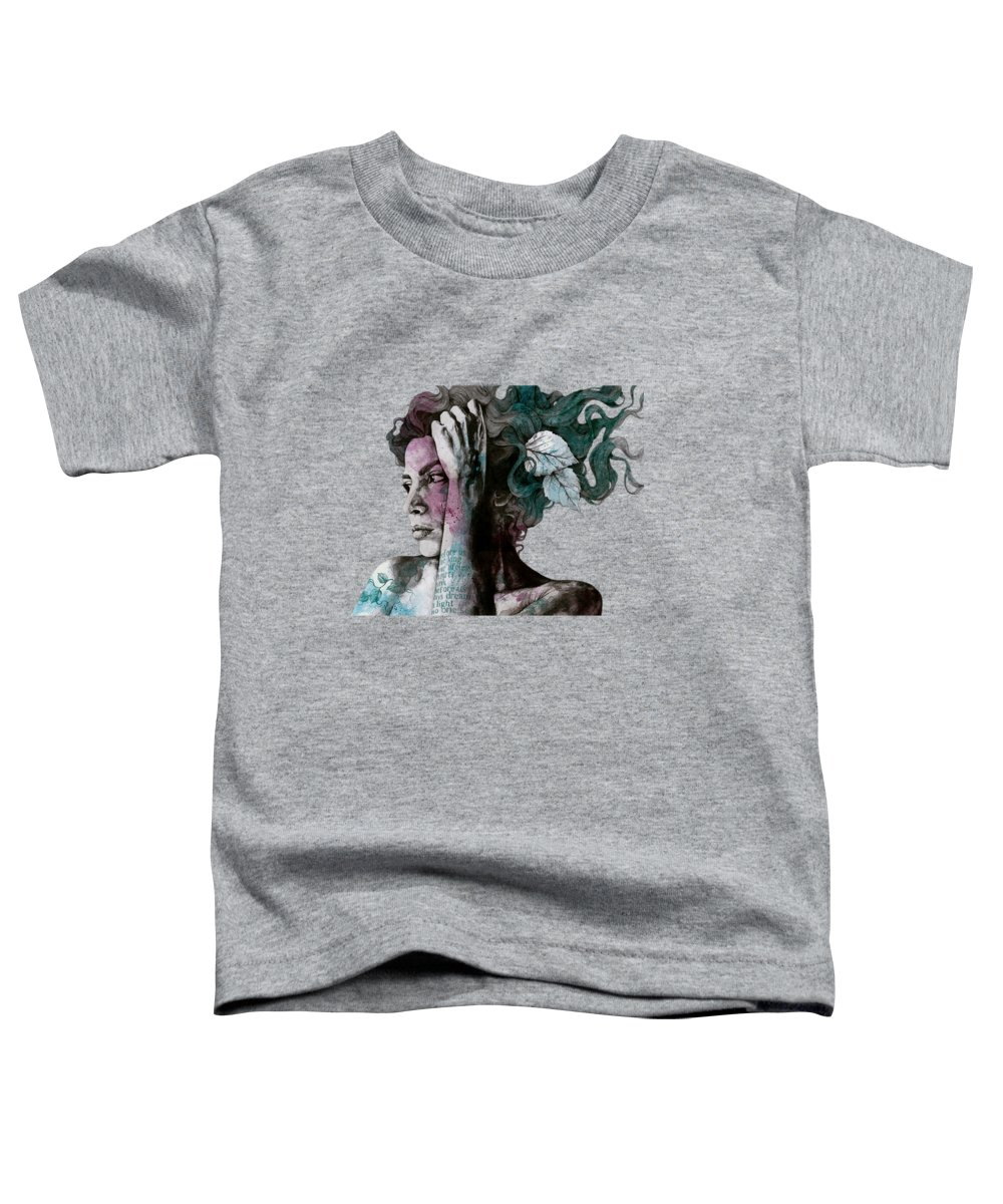Female Portrait Toddler T-Shirt featuring the drawing Beneath Broken Earth - Street Art Drawing, Woman With Leaves And Tattoos by Marco Paludet