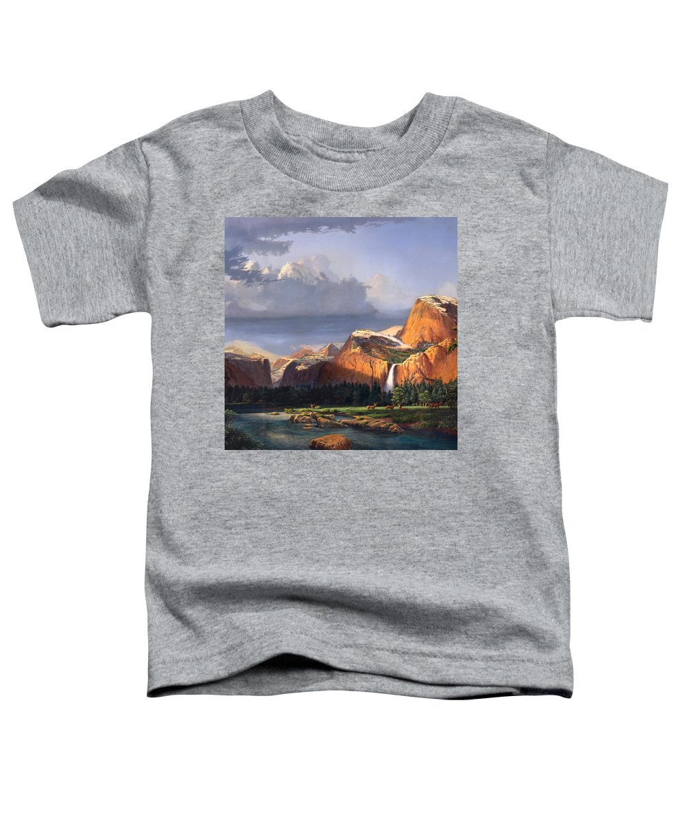 American Toddler T-Shirt featuring the painting Deer Meadow Mountains Western Stream Deer Waterfall Landscape Oil Painting Stormy Sky Snow Scene by Walt Curlee