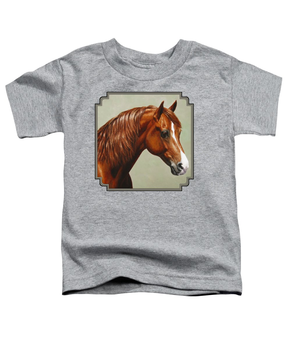 Horse Toddler T-Shirt featuring the painting Morgan Horse - Flame by Crista Forest