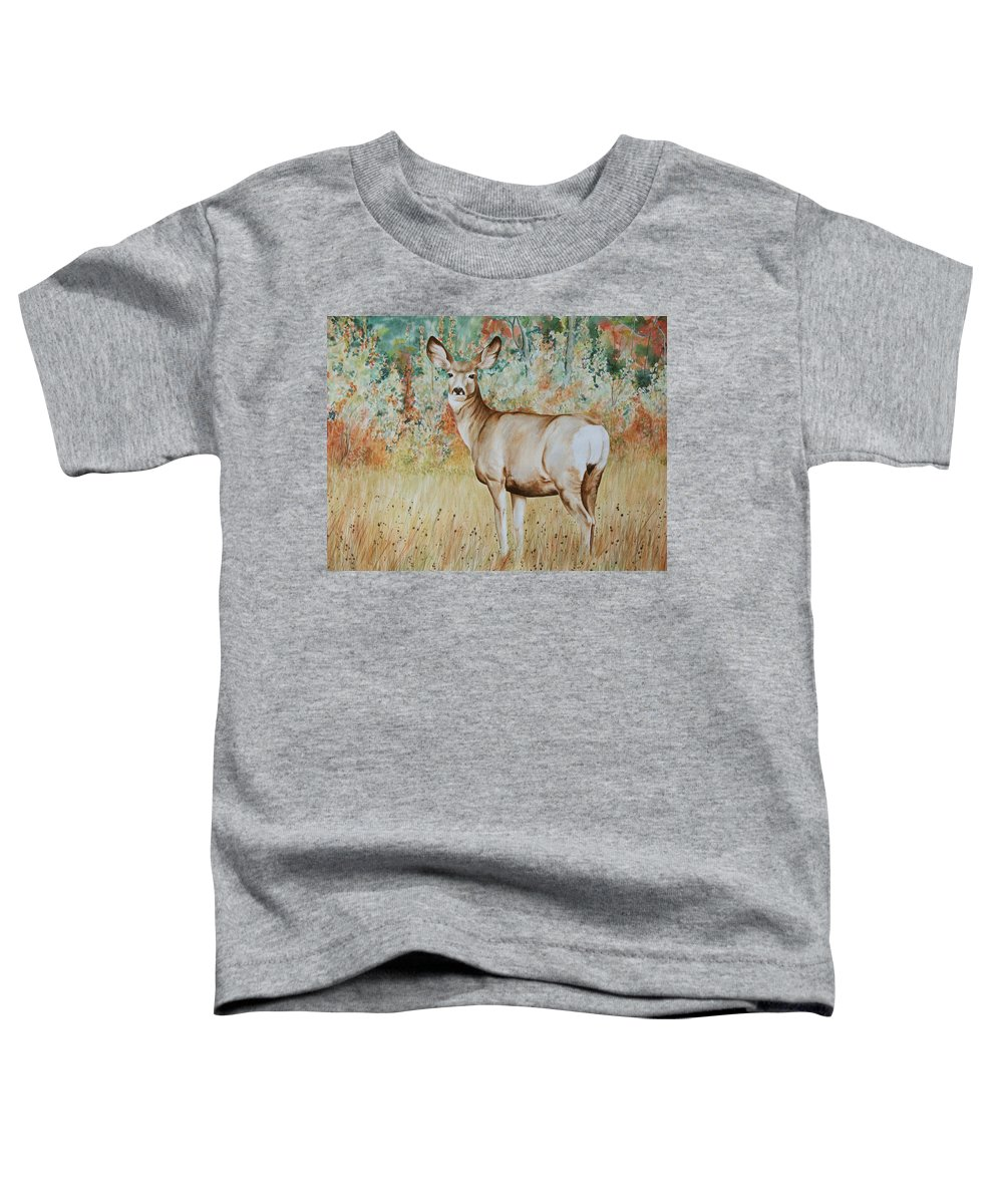 Wildlife Toddler T-Shirt featuring the painting Autumn Beauty- Mule Deer Doe by Elaine Booth-Kallweit