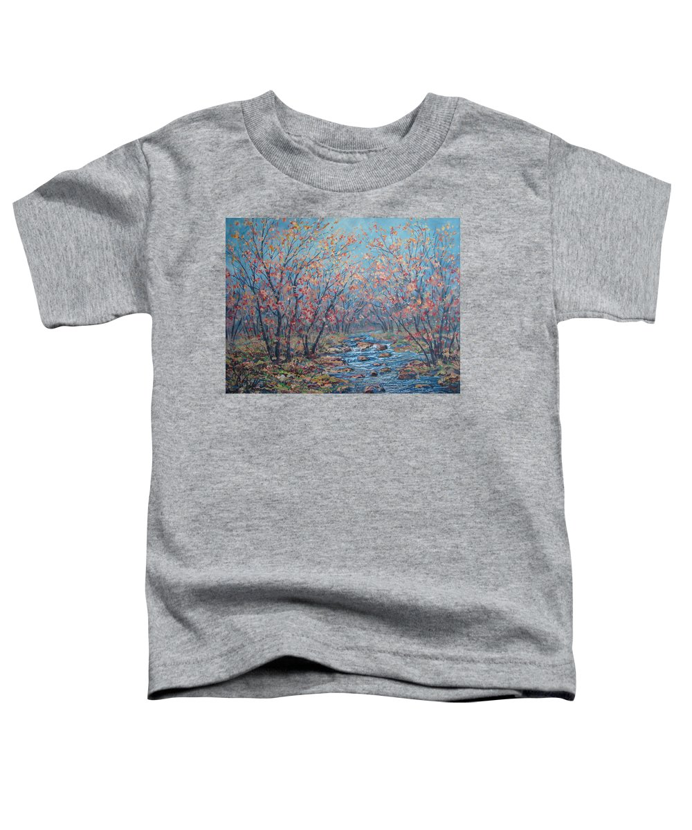 Landscape Toddler T-Shirt featuring the painting Autumn Serenity by Leonard Holland