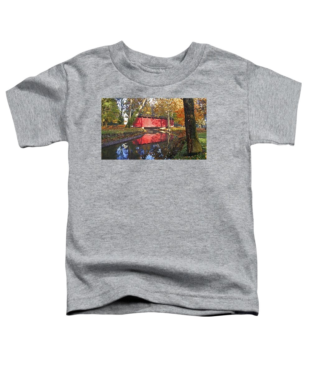 Covered Bridge Toddler T-Shirt featuring the photograph Autumn Sunrise Bridge by Margie Wildblood