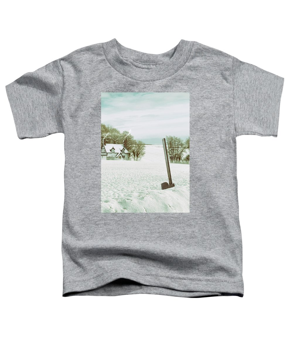 Snow Toddler T-Shirt featuring the photograph Axe In Snow Scene by Amanda Elwell