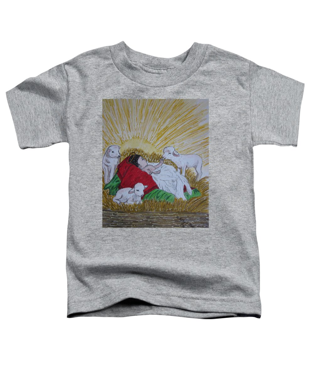 Saviour Toddler T-Shirt featuring the painting Baby Jesus At Birth by Kathy Marrs Chandler