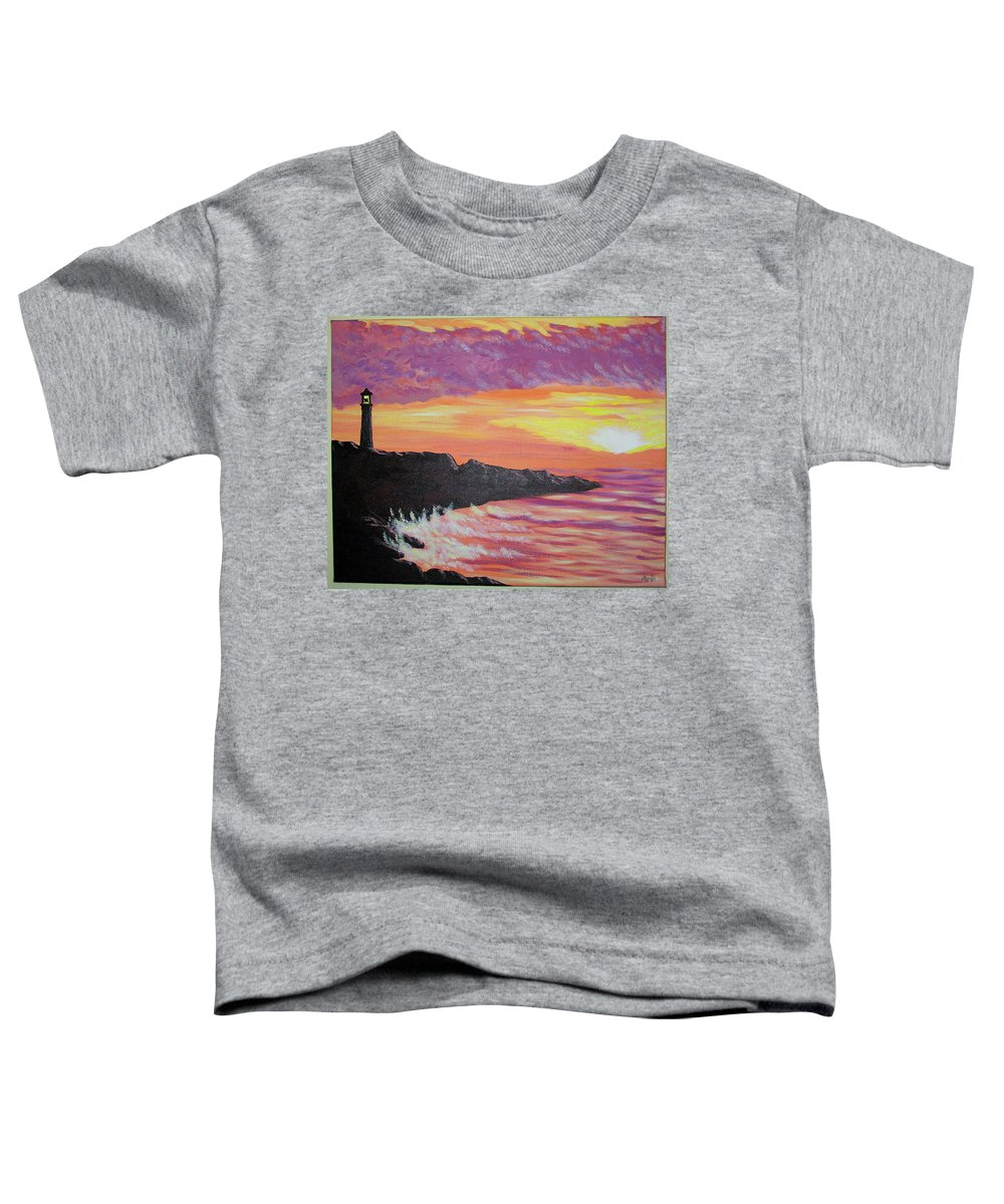 Seascape Toddler T-Shirt featuring the painting Bahia At Sunset by Marco Morales