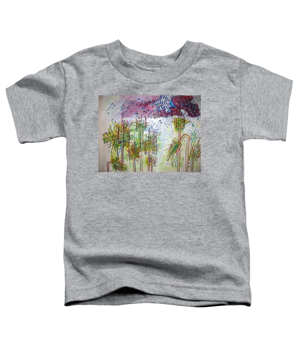 Barly Paintings Toddler T-Shirt featuring the painting Barly And The Blue Moon by Seon-Jeong Kim